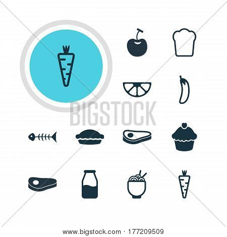 Vector Illustration Of 12 Cooking Icons. Editable Pack Of Beefsteak, Berry Type, Lime And Other Elements.