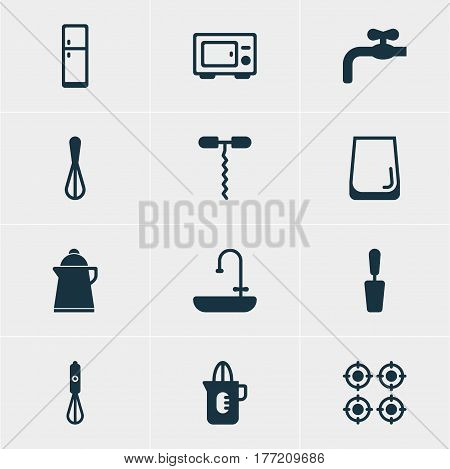Vector Illustration Of 12 Kitchenware Icons. Editable Pack Of Corolla, Handmixer, Refrigerator Elements.
