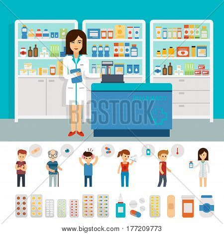 Pharmacy infographic elements and flat banner design. Vector pharmacy drugstore set design. Drugs icons pills capsules and prescription bottles. Flat vector woman pharmacist and people with illnesses