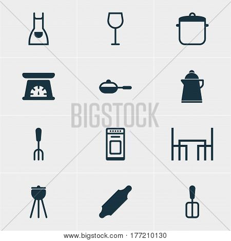 Vector Illustration Of 12 Kitchenware Icons. Editable Pack Of Dinner Table, Smock, Bakery Roller And Other Elements.