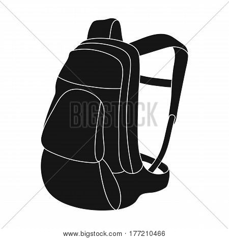 A portfolio of bicycles for carrying things behind.Cyclist outfit single icon in black style vector symbol stock web illustration.