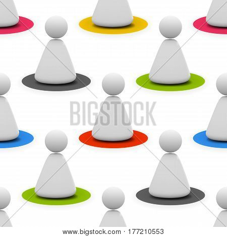Seamless pattern of human social icon in white color with different colord shadows under them. Vector illustration