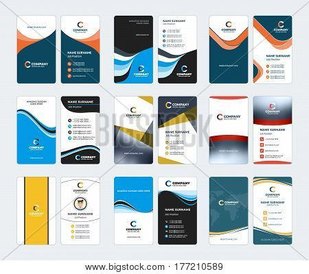 Collection Of Vertical Business Card Vector Templates. Stationery Design Vector Set
