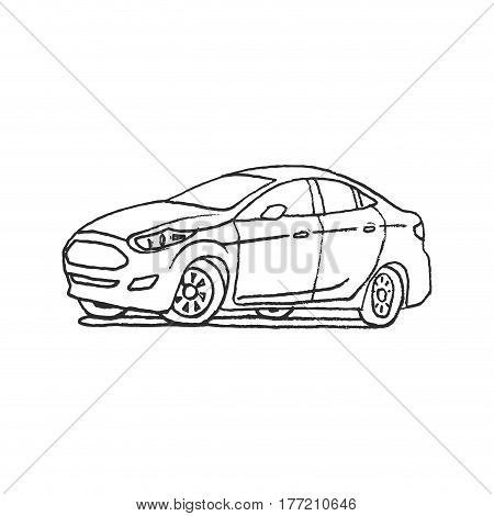 car cartoon doodle hand draw outline vector