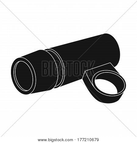 A flashlight that clings to the steering wheel to illuminate the road.Cyclist outfit single icon in black style vector symbol stock web illustration.