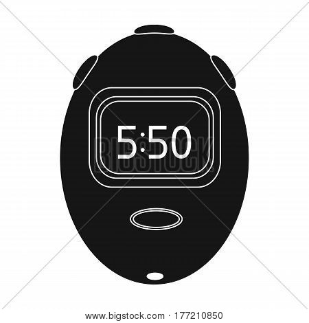 Stopwatch for calculating time and speed of travel.Cyclist outfit single icon in black style vector symbol stock web illustration.