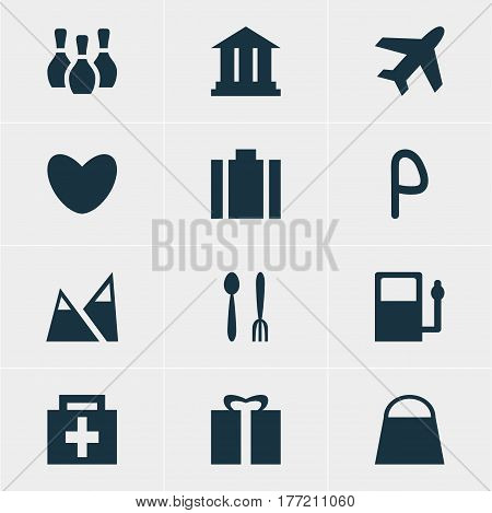 Vector Illustration Of 12 Travel Icons. Editable Pack Of Present, Car Park, Heart And Other Elements.