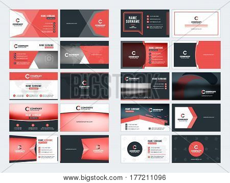 Collection Of Double-sided Business Card Vector Templates. Stationery Design Vector Set