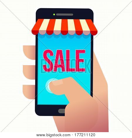 Hand holding smartphone with SALE text on screen. Promotion banner. May used as banner, poster, flyer.Vector illustration
