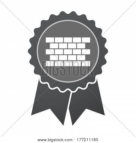 Isolated Badge With  A Brick Wall