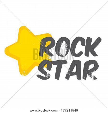 vector hipster cartoon retro label rock star. Rock n roll music icon or print design template