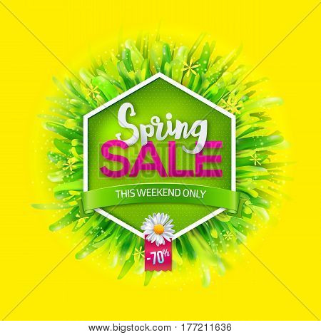 Spring sale label with green grass and chamomile on yellow background. Green ribbon with This weekend only text. Promotion banner. May used as banner, poster, flyer. Vector illustration