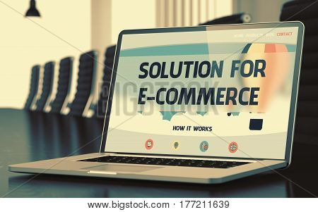 Solution For E-Commerce Concept. Closeup of Landing Page on Mobile Computer Display in Modern Meeting Room. Toned Image. Selective Focus. 3D Render.