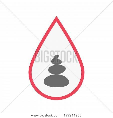 Isolated Blood Drop With  A Stacked Zen Stones