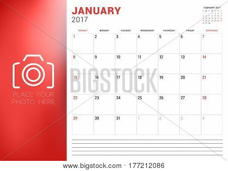 Calendar Template For January 2017. Week Starts Sunday. Place For Photo. Stationery Design. Vector I