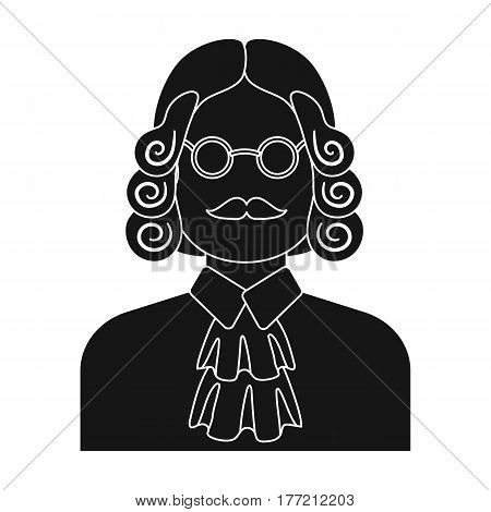 A judge in a wig and glasses. A person who makes a verdict to a criminal.Prison single icon in black style vector symbol stock web illustration.