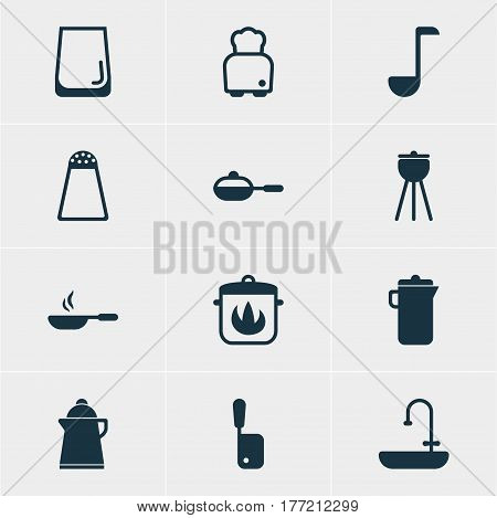 Vector Illustration Of 12 Kitchenware Icons. Editable Pack Of Frying Pan , Butcher Knife, Washstand Elements.