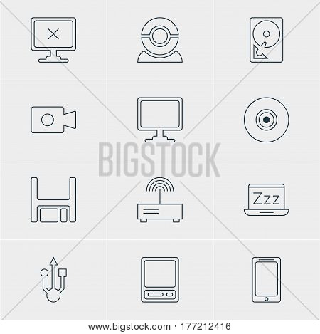 Vector Illustration Of 12 Notebook Icons. Editable Pack Of Smartphone, Movie Cam, Web Camera And Other Elements.