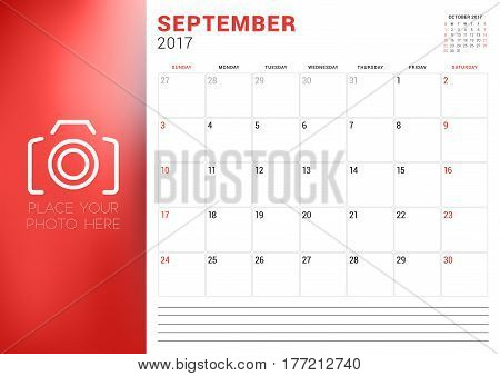 Calendar Template For September 2017. Week Starts Sunday. Place For Photo. Stationery Design. Vector