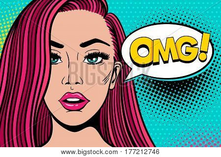 Wow Pop Art Female Face. Sexy Surprised Young Woman With Pink Hair And Open Mouth And Omg! Speech Bu
