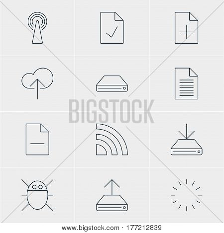 Vector Illustration Of 12 Network Icons. Editable Pack Of Checked Note, Information Load, Computer Virus And Other Elements.