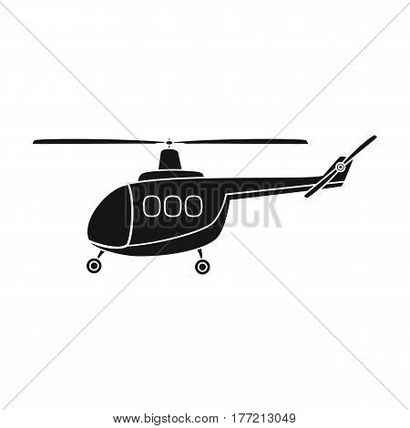 Air transport helicopter. Transport with blades.Transport single icon in black style vector symbol stock web illustration.