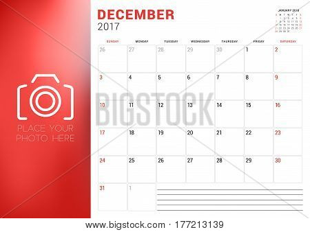 Calendar Template For December 2017. Week Starts Sunday. Place For Photo. Stationery Design. Vector