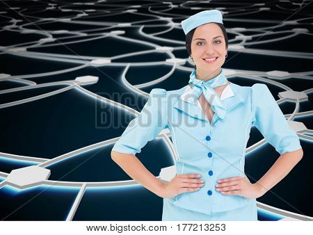 Digital composite of Travel agent standing against a black background