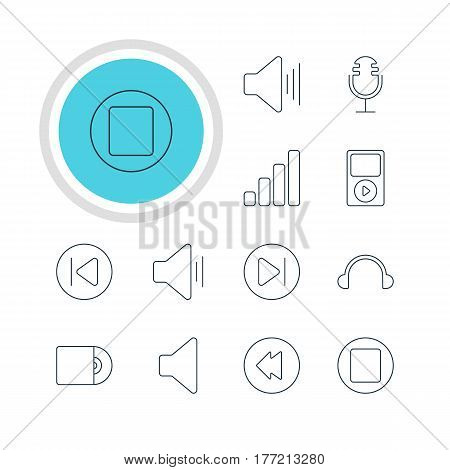 Vector Illustration Of 12 Music Icons. Editable Pack Of Compact Disk, Earphone, Subsequent And Other Elements.