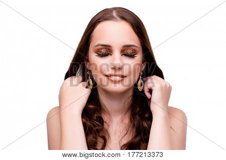 Young woman in beauty concept on white isolated background