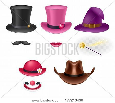 Video chat effects assorted hats set. Selfiy filters. Silk, magic, clown and cowboy's hats.
