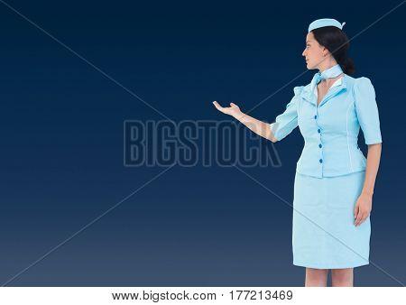 Digital composite of Travel agent showing against a dark blue background