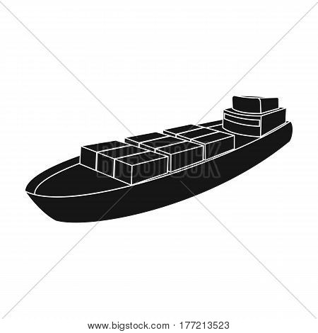 A ship for the transport of heavy goods over long distances by sea and ocean. Water freight transport.Transport single icon in black style vector symbol stock web illustration.