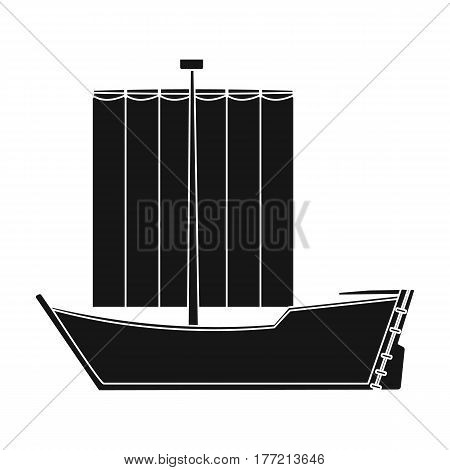 Sailboat. The boat sails from the wind. Water transport for skating.Transport single icon in black style vector symbol stock web illustration.