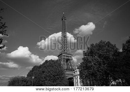 Eiffel Tower. Paris. France. Famous Historical Landmark On The Quay Of A River Seine. Romantic, Tour