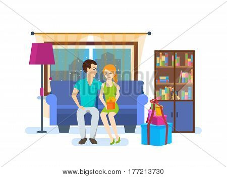 Young couple in love, against the background of the interior of the room, resting at home on the couch in the living room, the girl is holding a gift from the guy in her hands. Vector illustration.
