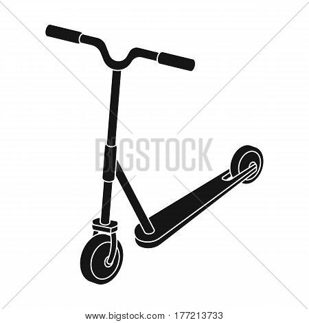 Children red scooter. Transport for children walks.Transport single icon in black style vector symbol stock web illustration.