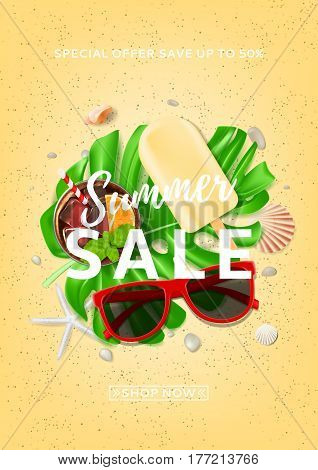 Beautiful poster for summer sale. Top view on composition with sun glasses, seashells, fresh cocktail and ice cream on sea sand. Vector illustration with leaves of tropical plant.