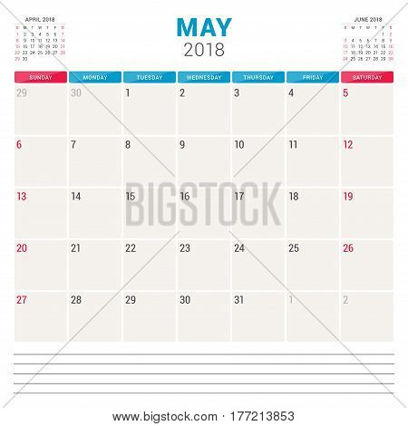 May 2018. Calendar Planner Vector Design Template. Week Starts On Sunday. Stationery Design