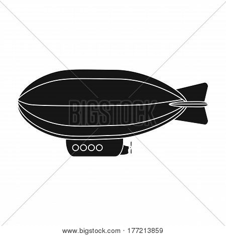 Airship, air transport for travel.Transport single icon in black style vector symbol stock web illustration.