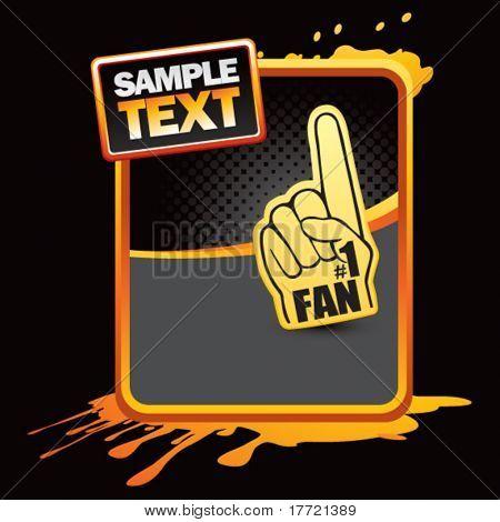 fan hand orange splattered advertisement