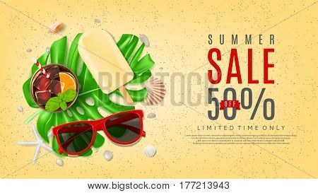 Beautiful web banner for summer sale. Top view on composition with sun glasses, seashells, fresh cocktail and ice cream on sea sand. Vector illustration with leaves of tropical plant.