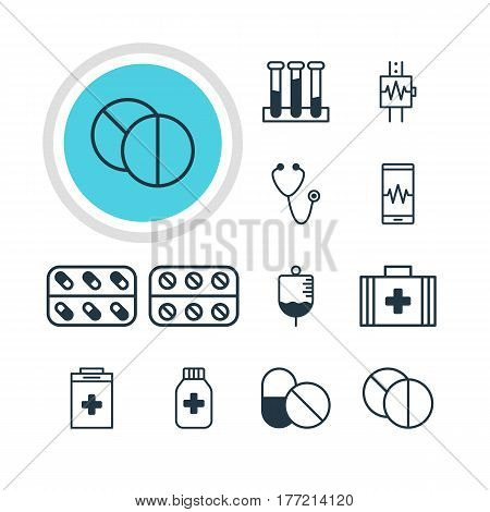 Vector Illustration Of 12 Medical Icons. Editable Pack Of Heartbeat, Round Tablet, Exigency And Other Elements.