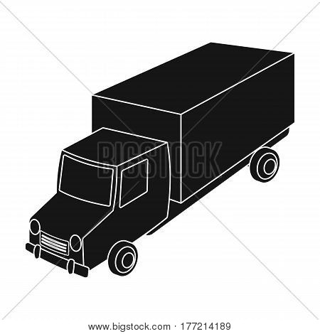 Red truck with a yellow body. The car for cargo transportation.Transport single icon in black style vector symbol stock web illustration.