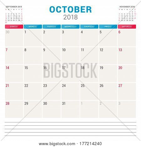 October 2018. Calendar Planner Vector Design Template. Week Starts On Sunday. Stationery Design