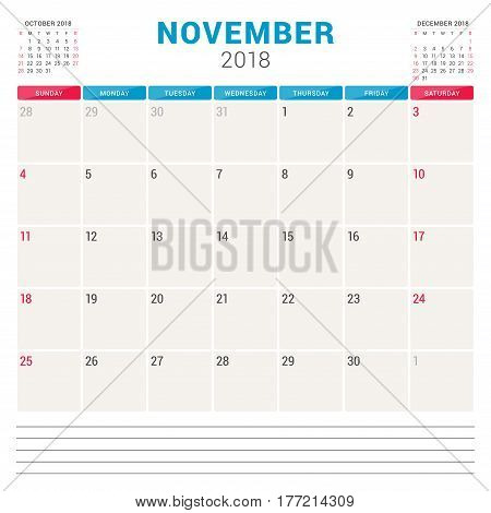 November 2018. Calendar Planner Vector Design Template. Week Starts On Sunday. Stationery Design