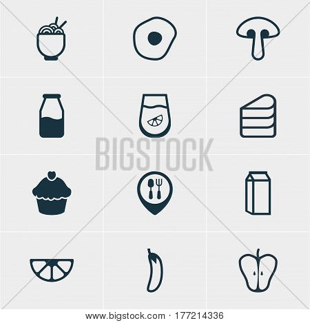 Vector Illustration Of 12 Cuisine Icons. Editable Pack Of Restaurant, Cruet, Patisserie And Other Elements.