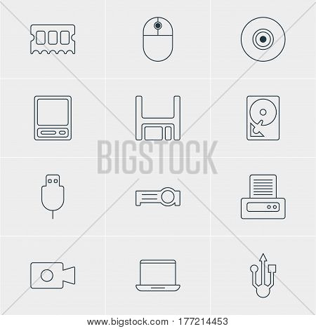 Vector Illustration Of 12 Laptop Icons. Editable Pack Of Pda, Hard Drive Disk, Objective And Other Elements.