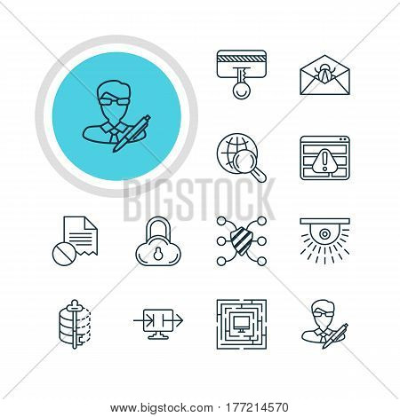 Vector Illustration Of 12 Web Safety Icons. Editable Pack Of System Security, Safeguard, Send Information And Other Elements.