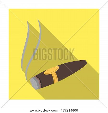 A tattered cigar with smoke. A sign of authority in the casino.Kasino single icon in flat style vector symbol stock web illustration.